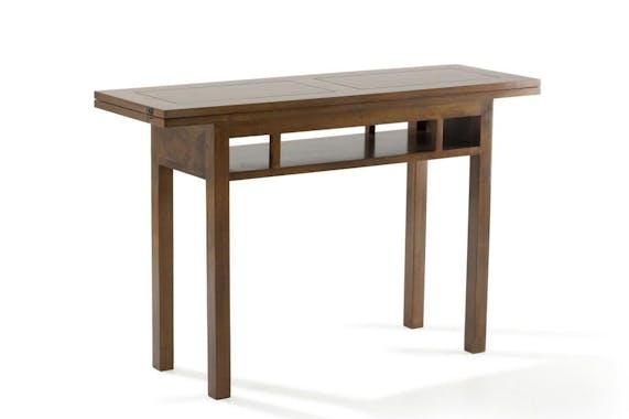 Console extensible en table repas hévéa 120cm HELENA