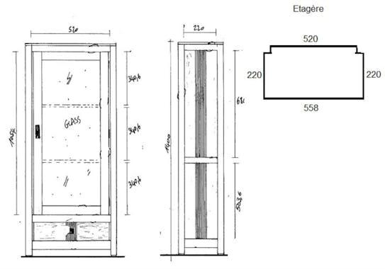 Bibliothèque vitrée hévéa 60cm GALA