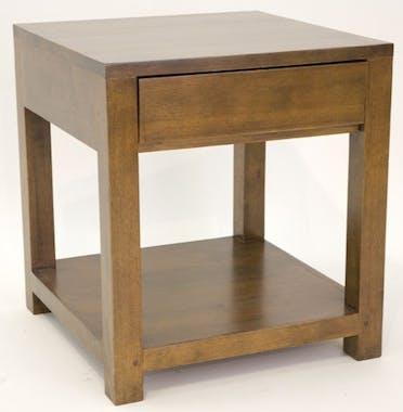 Bout de canapé chevet 1 tiroir hévéa 50x55cm OLGA