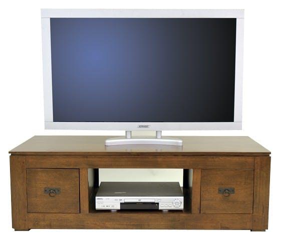 Meuble TV hévéa 2 tiroirs 125x50x40cm HELENA