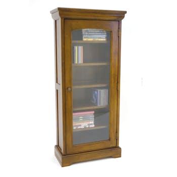 Bibliothèque vitrée Hévéa 1 porte, 6 étages 50x23x110,7cm TRADITION