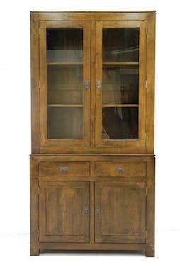 Vaisselier vitrée buffet hévéa 110x205cm HELENA