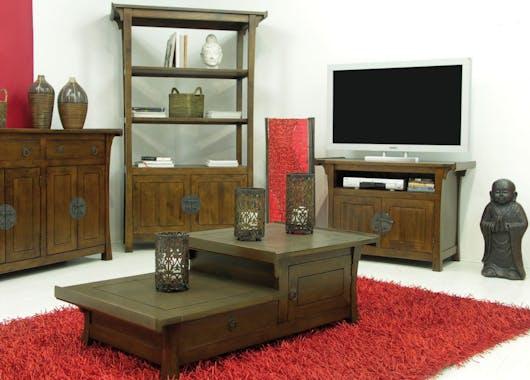 Table de chevet bois massif style colonial modèle 1 MAORI