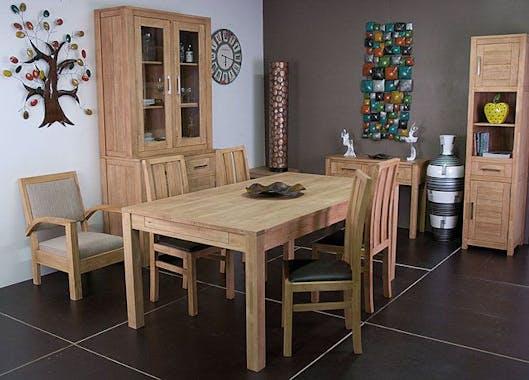 Chaise moderne bois et assise marron ATTAN