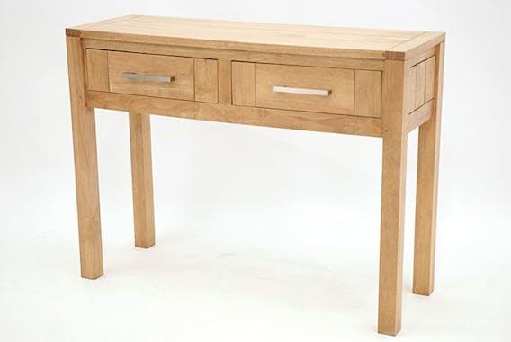 Console moderne bois hévéa avec tiroirs 100cm ATTAN