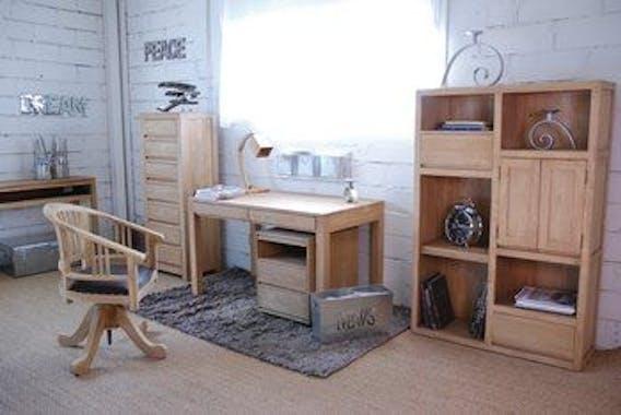 Bureau moderne 3 tiroirs hévéa 120x60x76cm OLGA