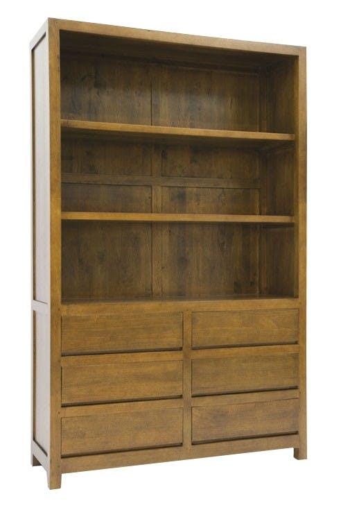 Bibliothèque 6 tiroirs hévéa 120x190cm OLGA