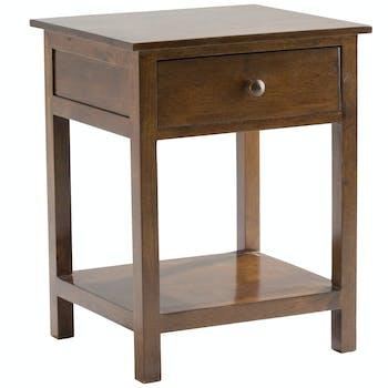 Table de chevet droit 1 tiroir bois hévéa TRADITION