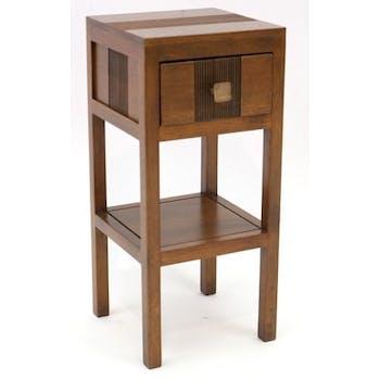 Table de chevet haute hévéa massif 1 tiroir 55cm GALA