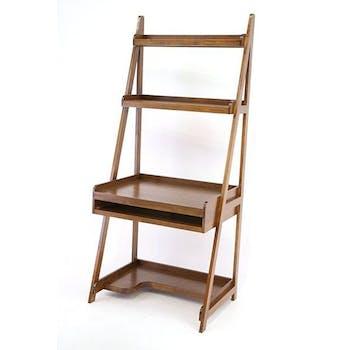 Bureau étagère bois massif hévéa 83xH190cm TRADITION