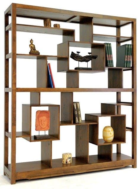 Bibliothèque étagère destructurée hévéa 160x190cm MAORI