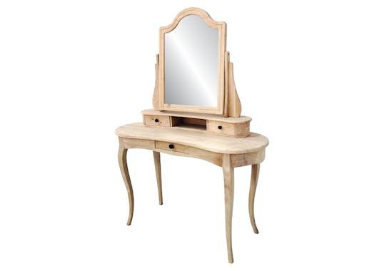 Coiffeuse miroir galbée hévéa 125x50x165cm TRADITION