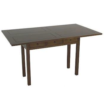 Console extensible en table à tiroirs hévéa 140cm HELENA