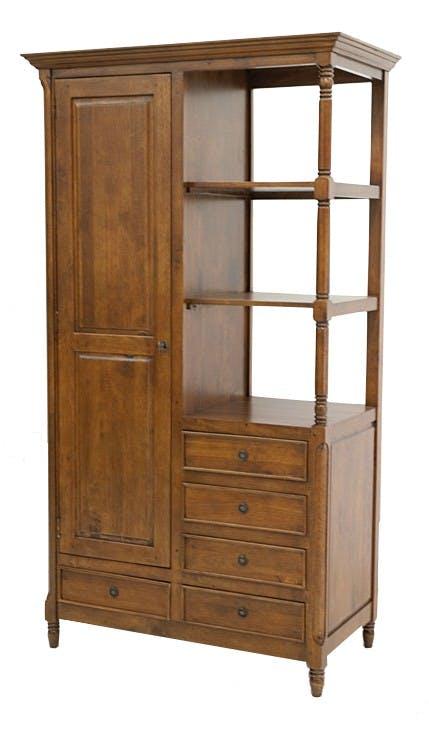 Armoire Hévéa 1 porte, 5 tiroirs, 3 niches ouvertes 106x56x190cm TRADITION