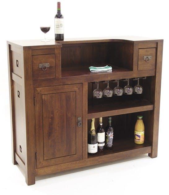 Meuble bar hévéa 120x46x105cm TESSA