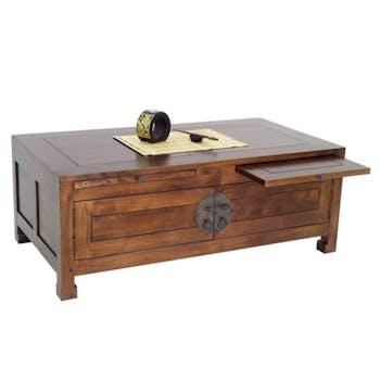 Table basse chinoise rectangle hévéa 110x60cm MAORI