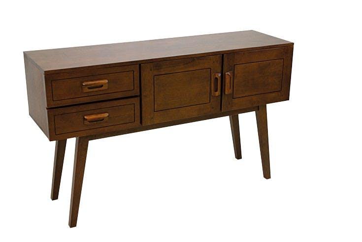 Console vintage bois hévéa 2 portes 2 tiroirs 130cm SIXTIES