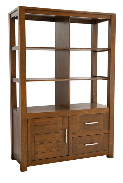Bibliothèque moderne bois hévéa 110x165cm ATTAN
