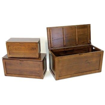 Coffres rectangles (lot de 3) bois massif hévéa HELENA