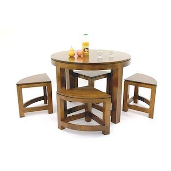 Table repas ronde D100cm hévéa + 4 tabourets MAORI