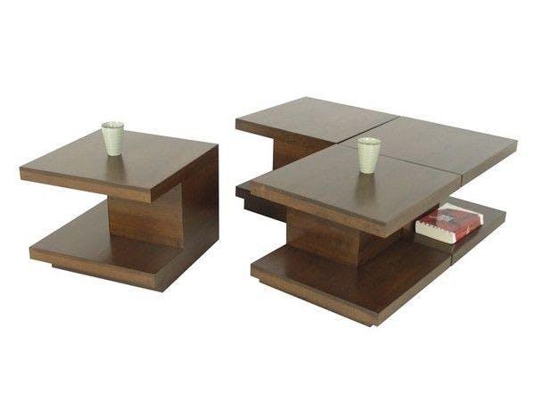Table basse 4 parties hévéa 100cm OLGA