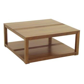 Table basse hévéa double plateau 90x90cm GALA