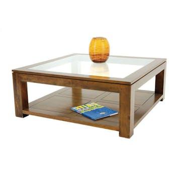 Table basse vitrée carrée hévéa 100cm HELENA