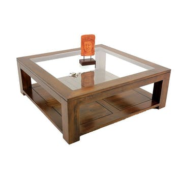 Table basse vitrée hévéa 110X110cm HELENA