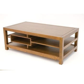 Table basse hévéa 3 plateaux 5 niches 110x60cm MAORI
