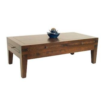 Table basse rectangle hévéa 120cm MAORI