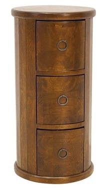Meuble rangement cylindrique 3 tiroirs hévéa massif 56cm TRADITION