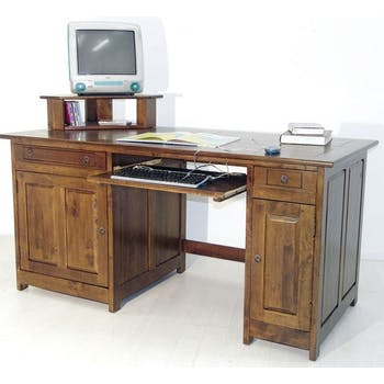 Bureau multimedia hévéa massif 160cm TRADITION