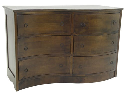 Commode exotique vague hévéa 6 tiroirs 110cm TRADITION