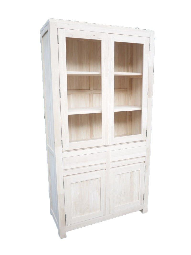 Vaisselier Hévéa 4 portes dont 2 vitrées, 2 tiroirs 100x40x190cm OLGA