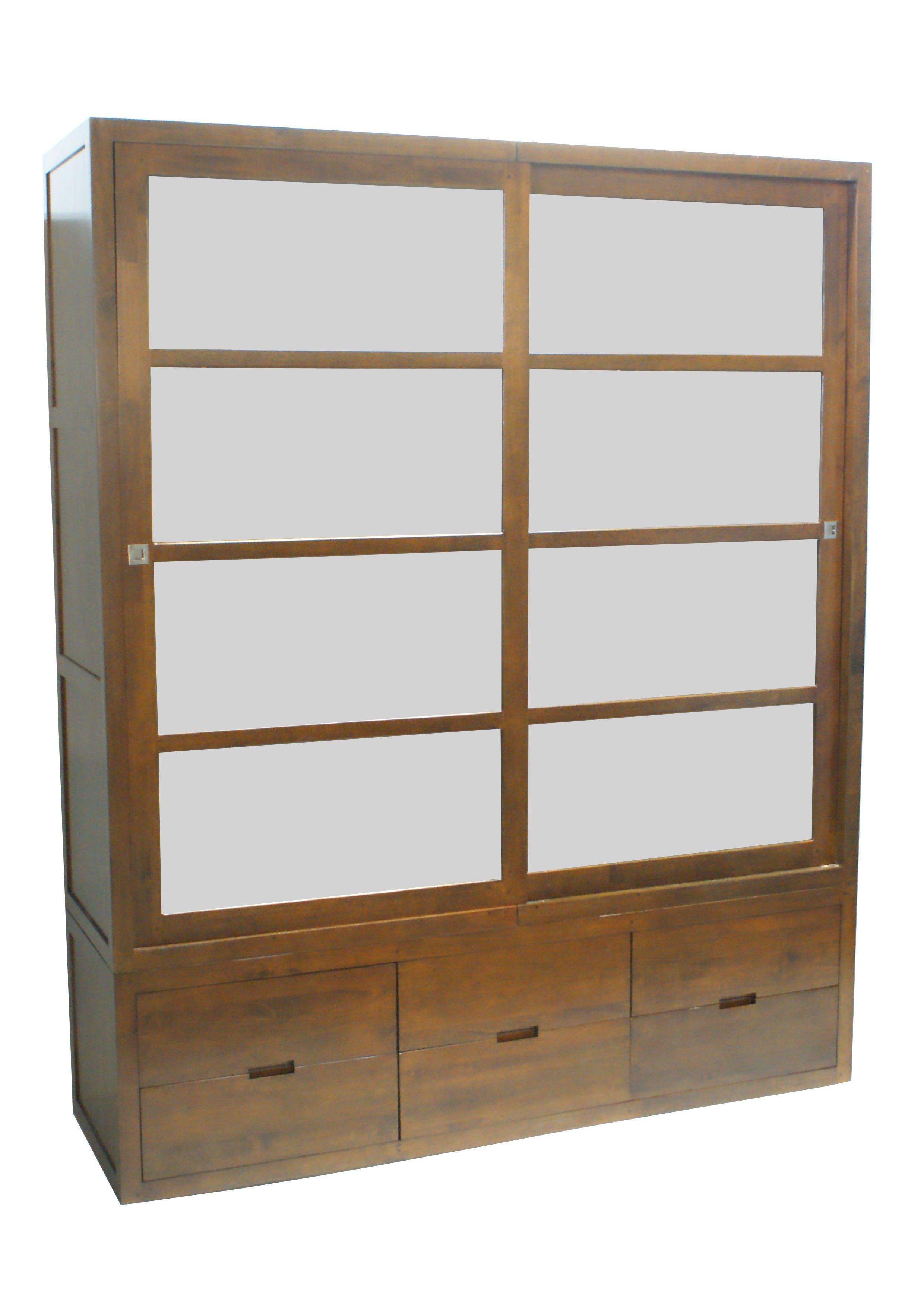 Armoire Hévéa 2 portes coulissantes, 6 tiroirs 55x180x220cm OLGA