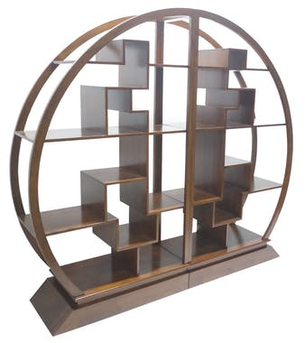 Bibliothèque demi cercle Hévéa 44x200x180 MAORI