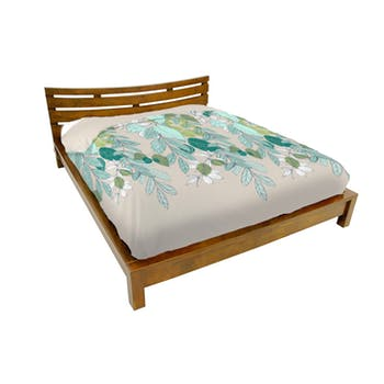 Lit 2 places couchage 180x200 avec tête de lit basse Hévéa 196x214x80cm NIAGARA