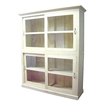 Bibliothèque Hévéa 4 portes vitrées coulissantes 149x44x180cm TRADITION