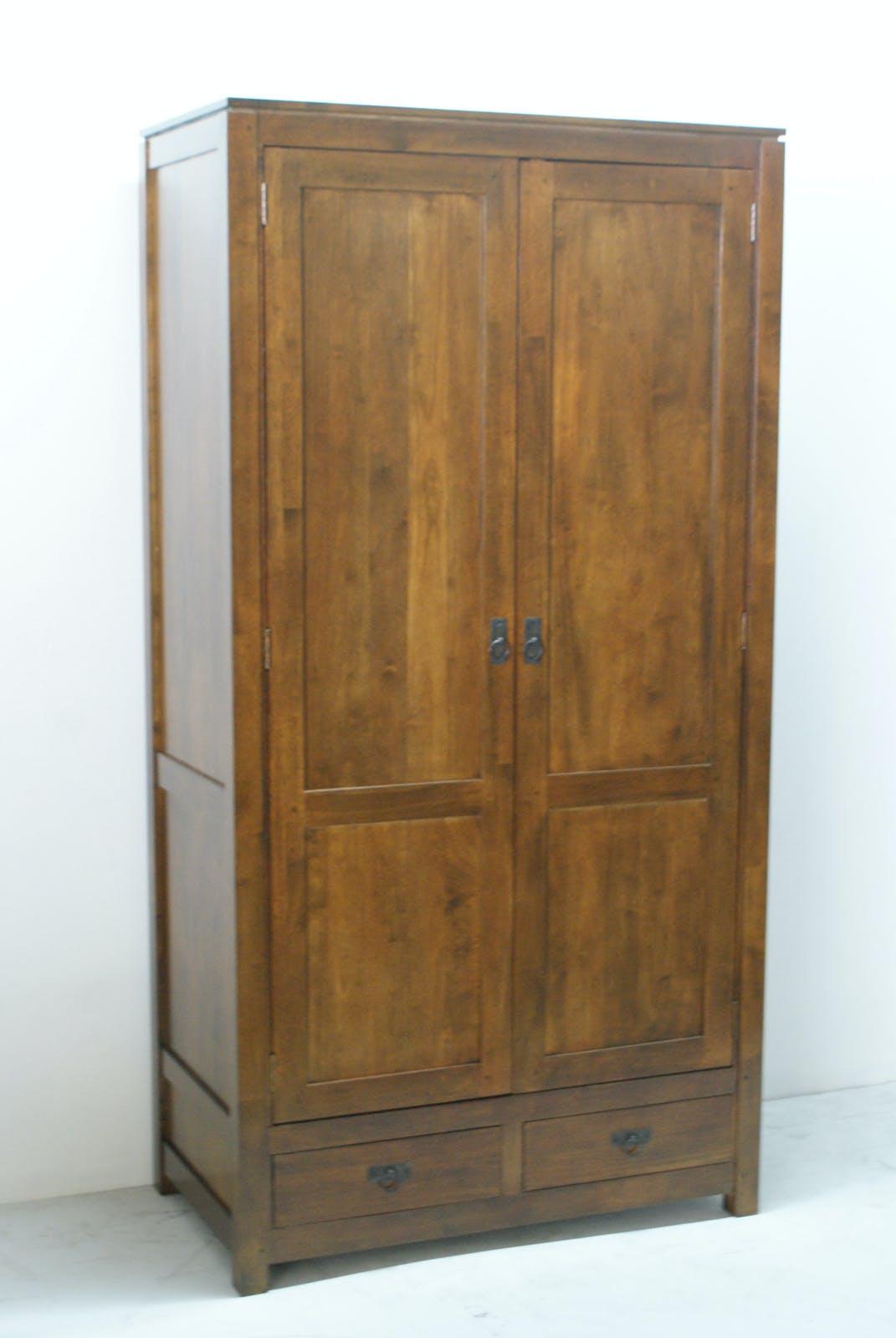 Armoire Hévéa 2 portes, 2 tiroirs, 100x55x195cm HELENA