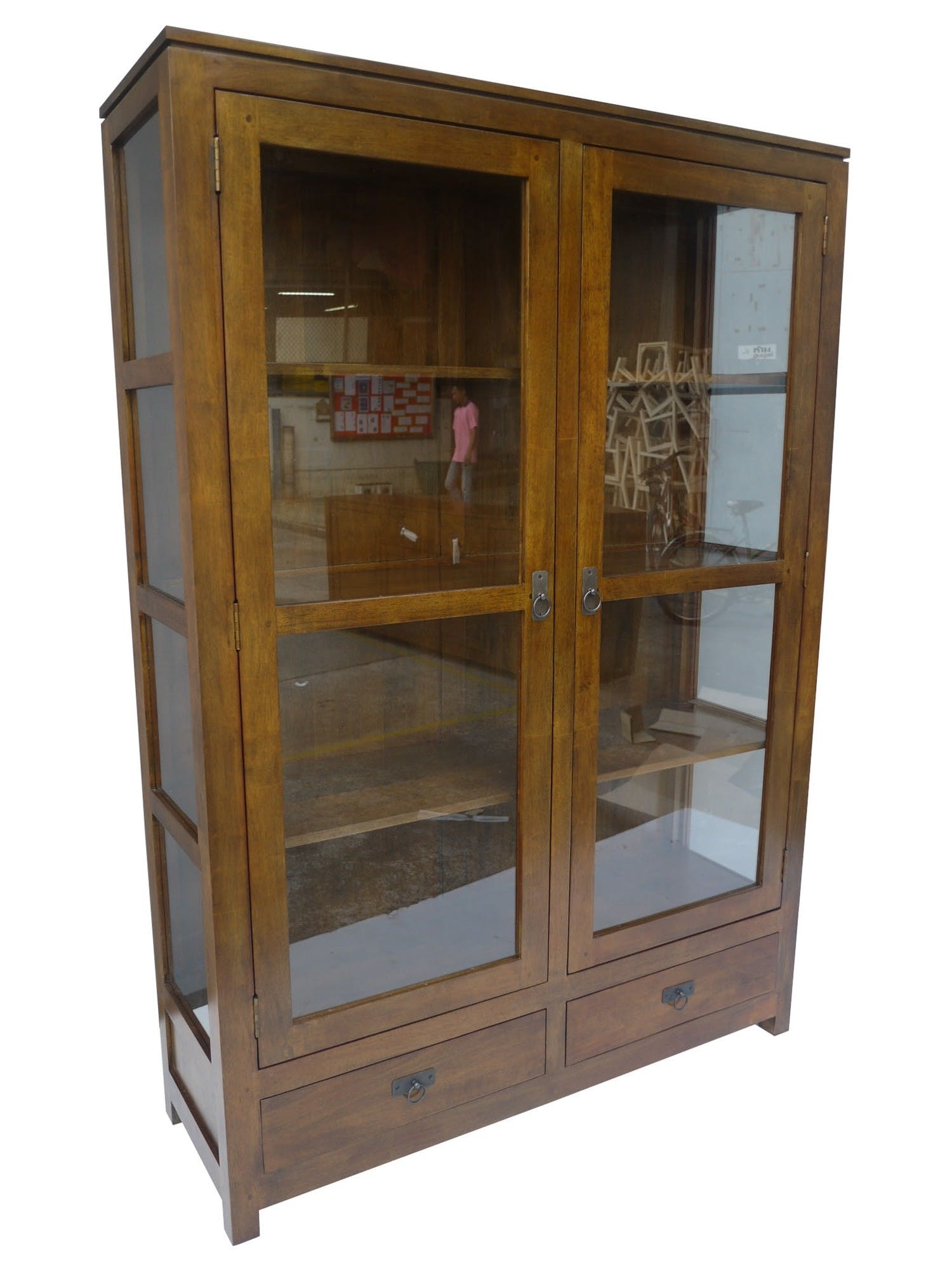 Bibliothèque vitrée Hévéa 2 portes, 2 tiroirs, 120x38x170cm HELENA