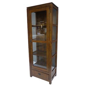 Bibliothèque vitrée Hévéa 1 porte, 1 tiroir, 60x38x170cm HELENA
