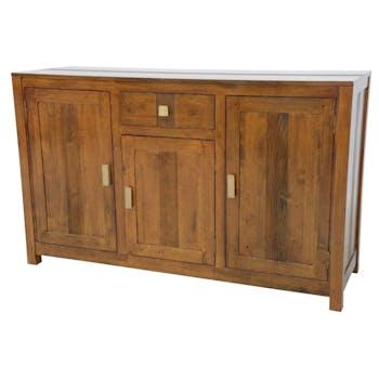 Buffet Hévéa 3 portes, 1 tiroir, 140x45x85cm GALA