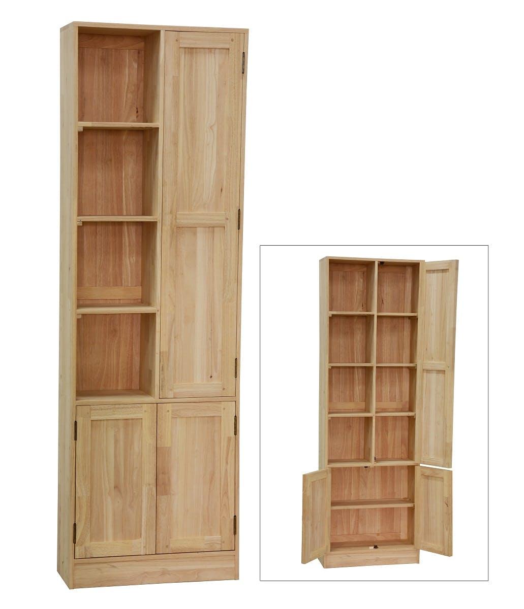 Armoire Hévéa 3 portes, dont 1 grande et 4 niches ouvertes 60x25x190cm TRADITION