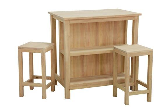 Table de Bar Hévéa 90x60x90cm avec étagères et 2 Tabourets 30x30x60cm TRADITION