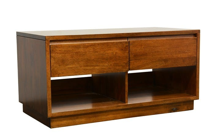 Meuble TV Hévéa 2 tiroirs, 2 niches basses 90x45x45cm BALTIC