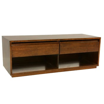 Meuble TV Hévéa 2 tiroirs, 2 niches basses 120x45x45cm BALTIC