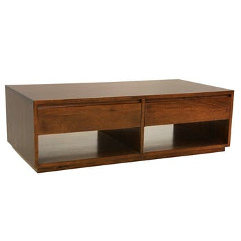 Table basse Hévéa 2 tiroirs traversants, 2 niches basses sous tiroirs 120x60x40cm BALTIC