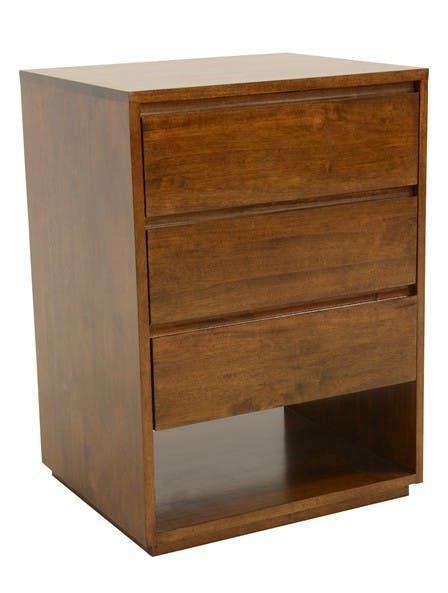 Commode / Table de Chevet Hévéa 3 tiroirs, 1 niche basse 60x50x86cm BALTIC