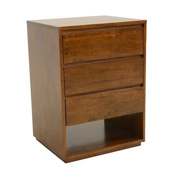 Commode / Table de Chevet Hévéa 3 tiroirs, 1 niche basse 60x50x86cm BALTIC