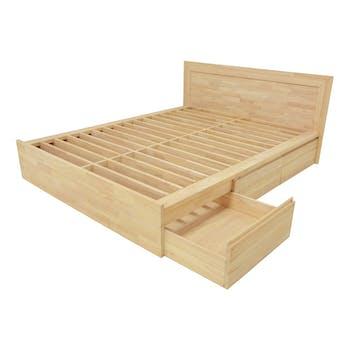 Lit 2 places Hévéa avec 6 tiroirs pour couchage 140x190 148x197x80cm BALTIC
